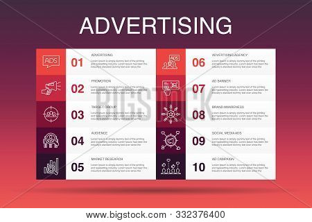 Advertising Infographic 10 Option Template.market Research, Promotion, Target Group, Brand Awareness