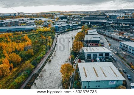 Sheffield, Uk - 8th November 2019: Aerial Images Of Damage Caused By The River Don Bursting Its Bank