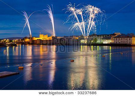 Fireworks over King John Castle in Limerick, Ireland