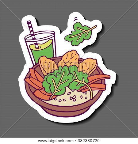 Healthy Meal With Sweet Potato, Arugula And Green Smoothie Sticker. Hand-drawn In Cartoon Style, Col