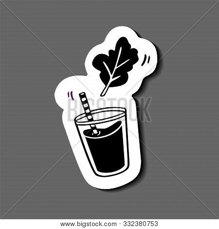 Sticker - Glass Of Juice Or Smoothie With Herbal Leaf (mint, Spinach Or Arugula). Hand-drawn In Cart