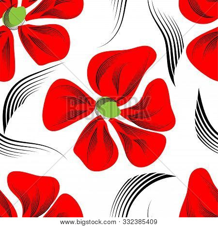 Modern Red Flowers, Great Design For Any Purposes. Summer Seamless Pattern Design. Vector Floral Pri