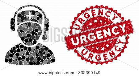 Mosaic Doctor Call Center And Grunge Stamp Seal With Urgency Text. Mosaic Vector Is Designed From Do