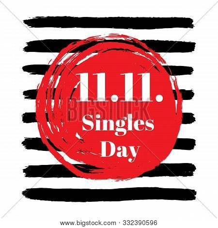 11.11. Single Day Sale, November 11 Chinese Shopping Holiday Poster With Textured Black Stripes And