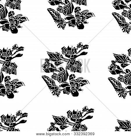 Seamless Pattern Of  Black Blossoming Branch Of Apple Tree Flowers On White Background. Hand Made Li
