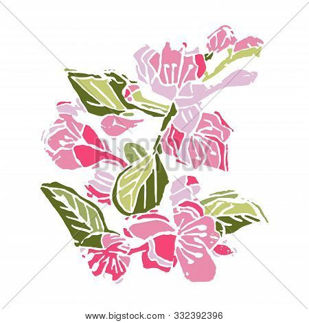 Hand Made Linocut With Colored Blossoming Branch Of Apple Tree Flowers. Vector Illustration.