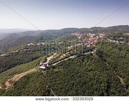 Aerial View To Center Of Sighnaghi Town In Georgia's Region Of Kakheti. Signagi