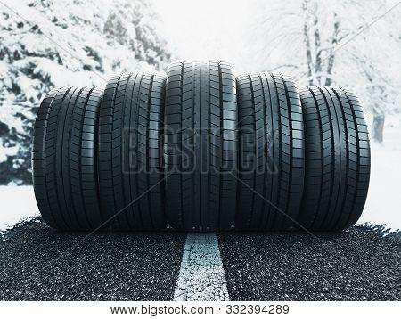 Winter Tire In Snow Closeup, 3d Rendering