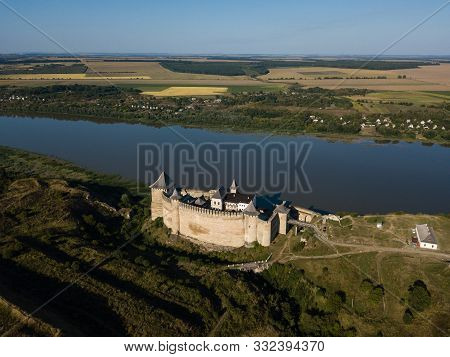Aerial View Medieval Fortress In Khotyn Town West Ukraine Near By Dniestr River