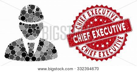 Mosaic Engineer And Rubber Stamp Watermark With Chief Executive Text. Mosaic Vector Is Designed With