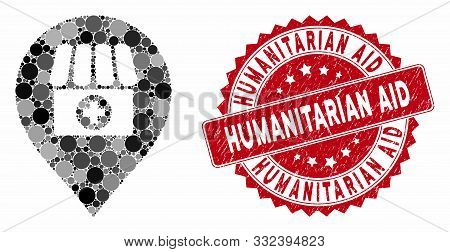 Collage Drugstore Marker And Grunge Stamp Seal With Humanitarian Aid Text. Mosaic Vector Is Designed
