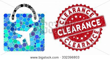 Mosaic Duty Free Shopping And Distressed Stamp Watermark With Clearance Caption. Mosaic Vector Is De