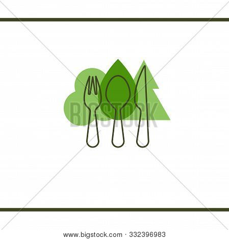 Trees And Cutlery. Forest And Cutlery. Wooden Fork, Spoon And Knife. Eco Cutlery. Healthy Lifestyle,