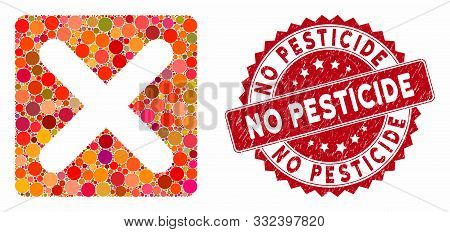 Mosaic Close And Distressed Stamp Seal With No Pesticide Caption. Mosaic Vector Is Composed From Clo