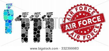 Mosaic Army Squad And Rubber Stamp Seal With Air Force Phrase. Mosaic Vector Is Formed With Army Squ