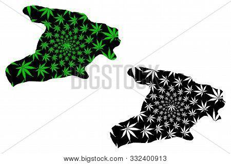 Alborz Province (provinces Of Iran, Islamic Republic Of Iran, Persia) Map Is Designed Cannabis Leaf