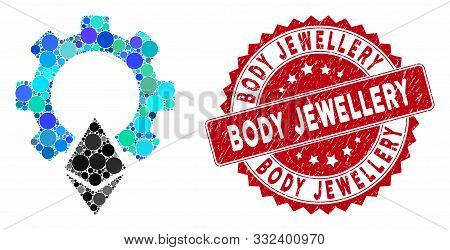 Mosaic Ethereum Gear And Corroded Stamp Seal With Body Jewellery Caption. Mosaic Vector Is Created W