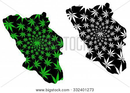 Chaharmahal And Bakhtiari Province (islamic Republic Of Iran, Persia) Map Is Designed Cannabis Leaf