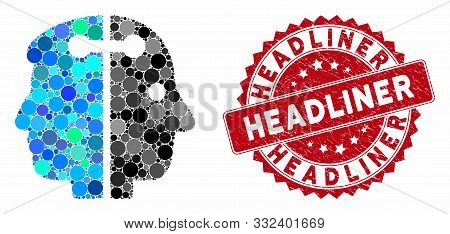 Mosaic Dual Head Connection And Rubber Stamp Seal With Headliner Phrase. Mosaic Vector Is Composed W