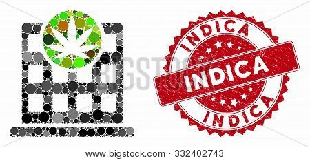Mosaic Cannabis Building And Corroded Stamp Seal With Indica Text. Mosaic Vector Is Created With Can