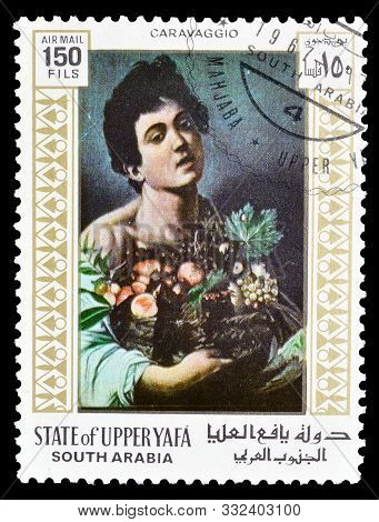 Cancelled Postage Stamp Printed By State Of Upper Yafa, That Shows Painting By Caravaggio, Circa 196