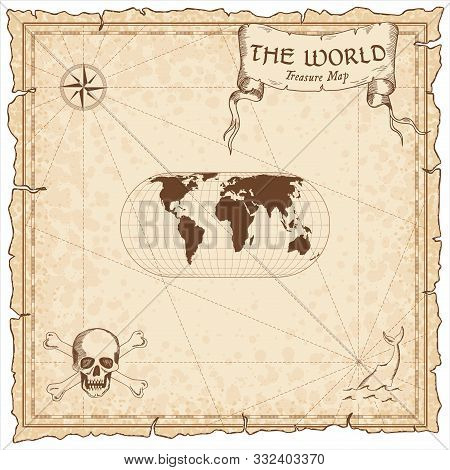World Treasure Map. Pirate Navigation Atlas. Herbert Hufnage's Pseudocylindrical Equal-area Projecti