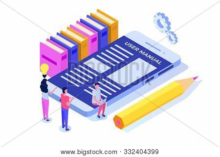 User Manual Isometric Concept. People With Guide Instruction Are Discussing About Content Of Handboo