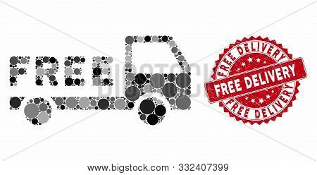 Mosaic Free Delivery And Distressed Stamp Watermark With Free Delivery Caption. Mosaic Vector Is For