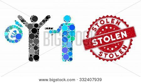 Collage Euro Robbery And Rubber Stamp Seal With Stolen Text. Mosaic Vector Is Designed With Euro Rob
