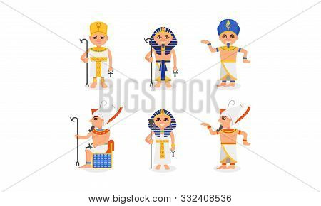 Pharaohs Of Ancient Egypt In Different Clothes And On The Throne Vector Illustration Set Isolated On