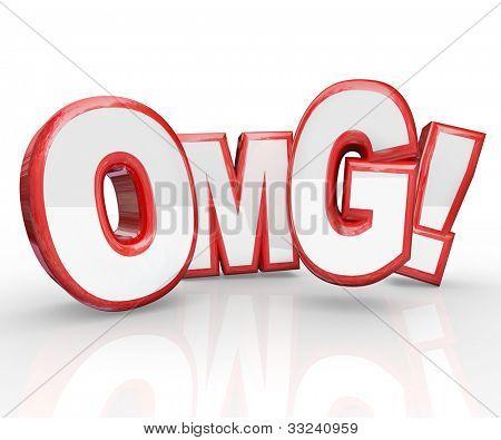 3D rojo Letras OMG acrónimo de Oh My God, una exclamación expresar choque, sorpresa, asombro de un