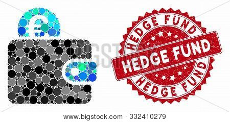 Mosaic Euro Wallet And Distressed Stamp Watermark With Hedge Fund Caption. Mosaic Vector Is Composed
