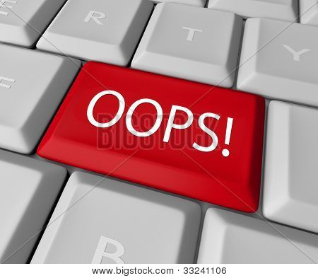 The word Oops on a red computer keyboard allowing you to catch a mistake and edit, correct or erase your error or wrong fact to make it right