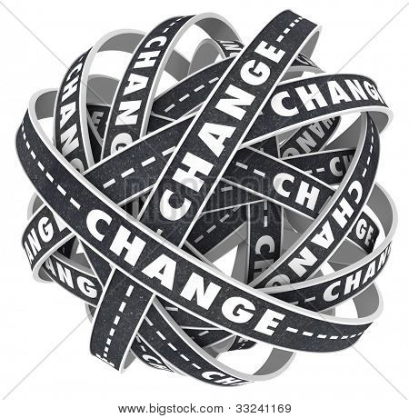 Many roads twist and turn with the word Change to indicate a need to move to a different destination or direction to alter your course in life