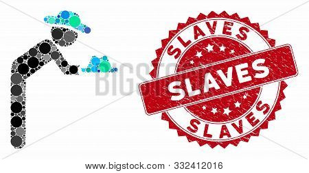 Mosaic Gentleman Servant And Corroded Stamp Seal With Slaves Phrase. Mosaic Vector Is Formed With Ge