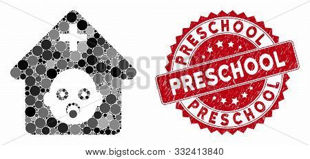 Collage Prenatal Hospital And Distressed Stamp Seal With Preschool Caption. Mosaic Vector Is Compose
