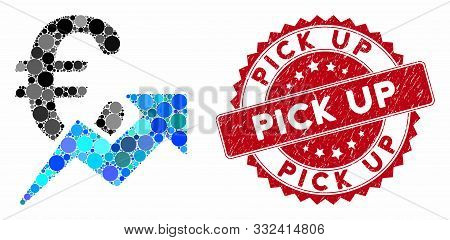 Mosaic Euro Growth And Grunge Stamp Seal With Pick Up Text. Mosaic Vector Is Created From Euro Growt