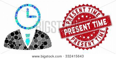 Collage Time Manager And Corroded Stamp Seal With Present Time Caption. Mosaic Vector Is Composed Wi