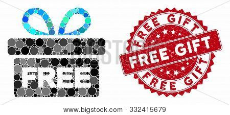 Mosaic Free Gift And Grunge Stamp Seal With Free Gift Phrase. Mosaic Vector Is Created With Free Gif