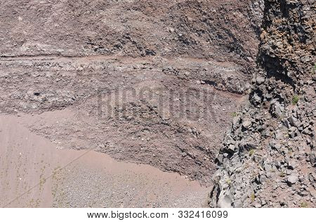 Desolated View Of Crater Of Volcano Vesuvius Also Called Vesuvio In Italian Language Near Naples In