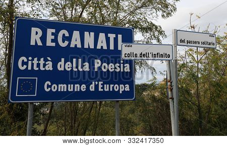 Traffic Signal Of Recanati Town In Central Italy Where Was Born The Famous Poet Giacomo Leopardi. Th