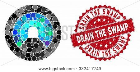 Mosaic Pipe Tunnel And Distressed Stamp Seal With Drain The Swamp Phrase. Mosaic Vector Is Created W