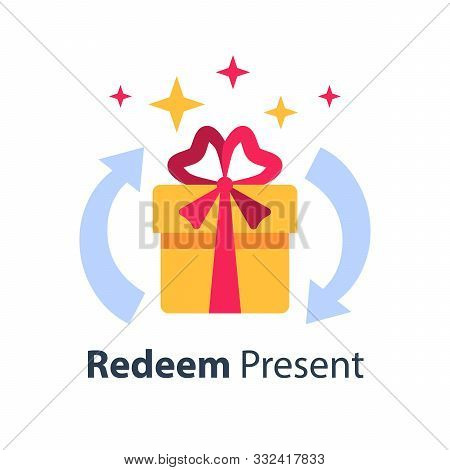 Prize Giveaway, Loyalty Program, Present Box, Surprise Gift, Incentive Or Perks, Earn Bonus, Vector