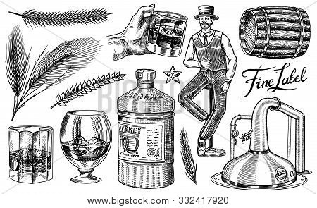 Whiskey Set. Glass Bottle, Wooden Barrel, Scotch And Bourbon, Wheat And Rye, Victorian Man, Cheers T