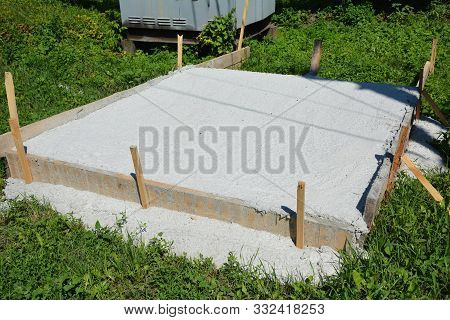 Slab-on-grade Foundation On Construction Site. Monolithic Slabs Are Foundation Systems Constructed A