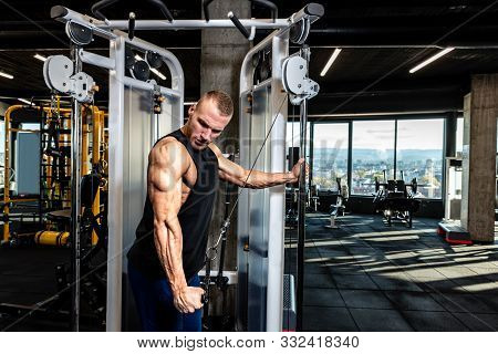 Triceps Workout, Young Muscular Strong Sweaty Fit Man Triceps Workout Training On The Cable Machine
