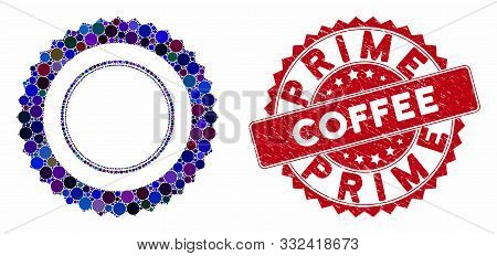 Mosaic Rosette Seal Frame And Rubber Stamp Watermark With Prime Coffee Caption. Mosaic Vector Is Com