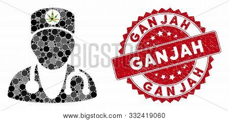 Mosaic Marijuana Doctor And Rubber Stamp Seal With Ganjah Text. Mosaic Vector Is Composed With Marij
