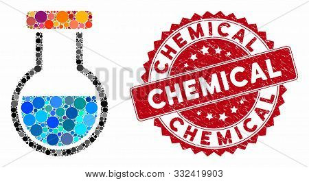 Mosaic Phial And Distressed Stamp Watermark With Chemical Text. Mosaic Vector Is Formed With Phial I