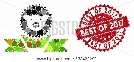Mosaic Pig Reward Ribbon And Grunge Stamp Watermark With Best Of 2017 Caption. Mosaic Vector Is Crea